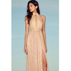 Lulus   Be A Star Gold Halter Maxi Dress Gown